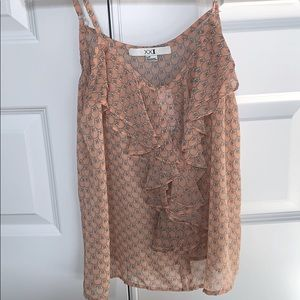 Forever 21 chiffon tank with ruffle front peach S